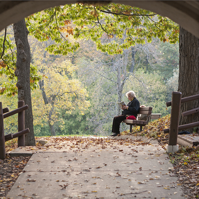 Someone Sitting on a Park Bench in the Fall